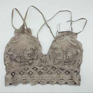 S Anemone Floral Natural Taupe Lace Bralette Bra